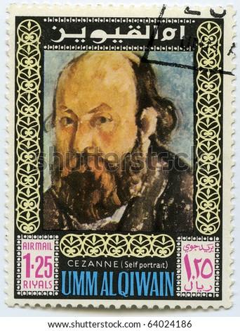 UNITED ARAB EMIRATES - CIRCA 1975: Postage stamps printed in United Arab Emirates shows self-portrait of the artist Cezanne, circa 1975