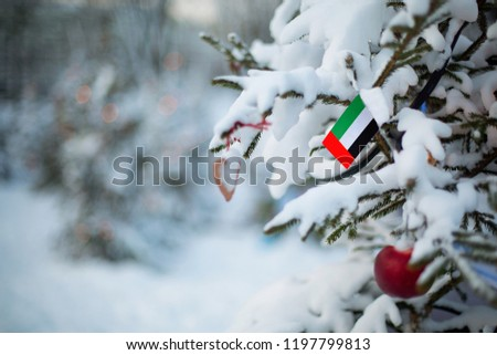 United Arab Emirates flag. Christmas background outdoor. Christmas tree covered with snow and decorations and UAE flag. Christmas holiday greeting card.