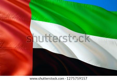United Arab Emirates flag. 3D Waving flag design. The national symbol of United Arab Emirates, 3D rendering. United Arab Emirates 3D Waving sign design. Waving sign background wallpaper