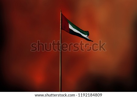 United Arab Emirates flag flying in grunge background #1192184809