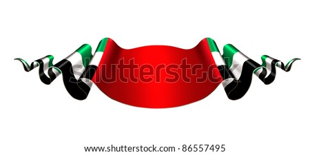 United Arab Emirates flag ribbon on white background