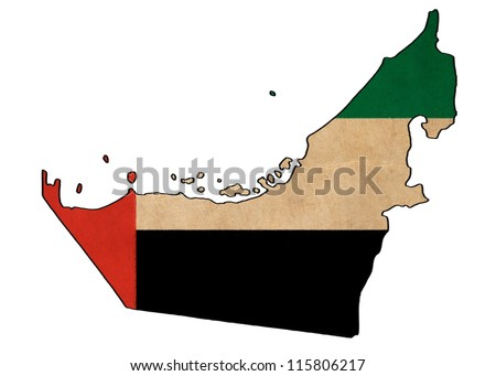 United Arab Emirates map on United Arab Emirates flag drawing ,grunge and retro flag series
