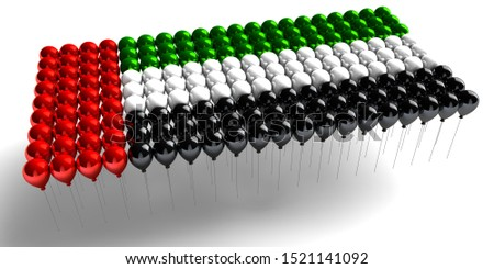 United Arab Emirates national day with UAE Balloons, spirit of the union, UAE National day of UAE and Flag day, Anniversary Celebration 2 December, UAE 48 Independence Day, 3D illustration rendering
