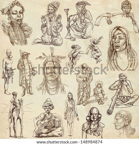 United Colors of Human Race (People collection no.2, paper ) - Collection of an hand drawn illustrations. Description: Full sized hand drawn illustrations drawing on old paper.