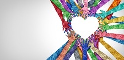 United diversity and unity partnership as heart hands in a group of diverse people connected together shaped as a support symbol expressing the feeling of teamwork and togetherness.
