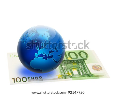 United Europe flag and globe over 100 euro. Isolated on white. Money concept design.