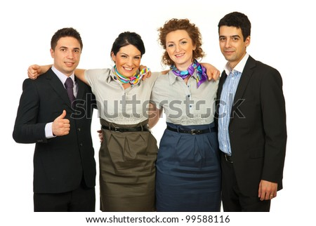 United group of cheerful business people standing in embrace isolated on white background