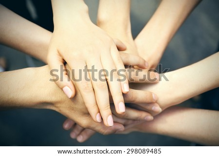 United hands close-up