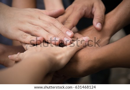 United hands close-up (hands, hand, help)