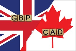 United Kingdom and Canada currencies codes on national flags background. International money transfer concept