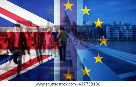 United Kingdom and European union flags combined for the 2016 referendum - crowd of people walking on Millenium Bridge and St Paul's Cathedral in the bckground #437758186