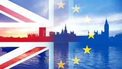 United Kingdom and European union flags combined for the 2016 referendum - Westminster and Big Ben in the bckground
