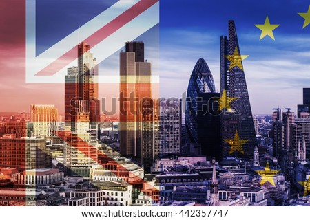 United Kingdom and European Union flags over the Bank District\'s Skyscrapers in London, England