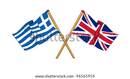 United Kingdom and Greece alliance and friendship - stock photo