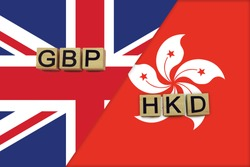 United Kingdom and Hong Kong currencies codes on national flags background. International money transfer concept