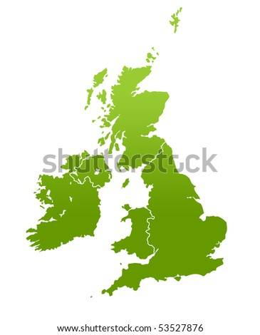 United Kingdom and Ireland map in green, isolated on white background.
