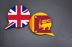 United Kingdom and Sri Lanka flags with two speech bubbles on dark gray background