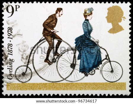 UNITED KINGDOM - CIRCA 1978 : A British Used Postage Stamp celebrating cycling, showing a Penny Farthing and 1884 Safety Bicycle circa 1978