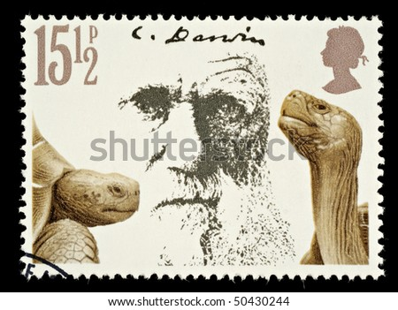 UNITED KINGDOM - CIRCA 1981: A British Used Postage Stamp Showing Charles Darwin and Giant Tortoises, circa 1981