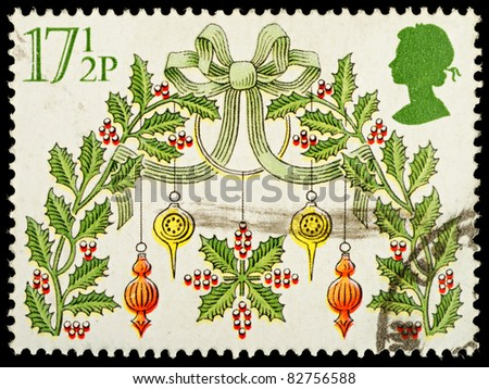 UNITED KINGDOM - CIRCA 1980 : A British Used Postage Stamp showing Christmas Decorations, circa 1980
