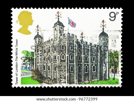 UNITED KINGDOM - CIRCA 1978: A mail stamp printed in the UK featuring the historic Tower Of London landmark building, circa 1978