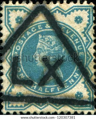 UNITED KINGDOM - CIRCA 1887: A post stamp printed in United Kingdom shows Queen Victoria, circa1887