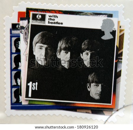 UNITED KINGDOM CIRCA 2007 a postage stamp printed in Great Britain showing an image of The Beatles With The Beatles album cover circa 2007