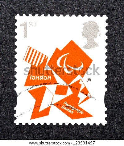UNITED KINGDOM - CIRCA 2011: a postage stamp printed in United Kingdom commemorative of London 2012 Paralympic games, circa 2011.
