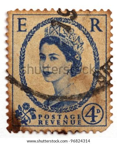 UNITED KINGDOM - CIRCA 1952: A postage stamp printed in United Kingdom showing a portrait of queen Elizabeth II, circa 1952.