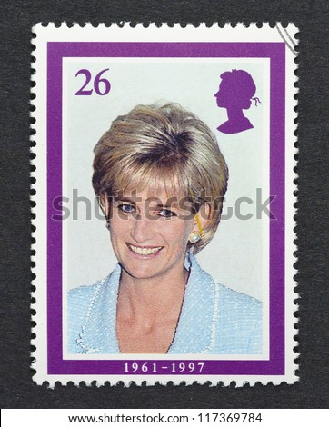 UNITED KINGDOM -Â?Â? CIRCA 2008: A postage stamp printed in United Kingdom showing an image of Diana, Princess of Wales, circa 2008.
