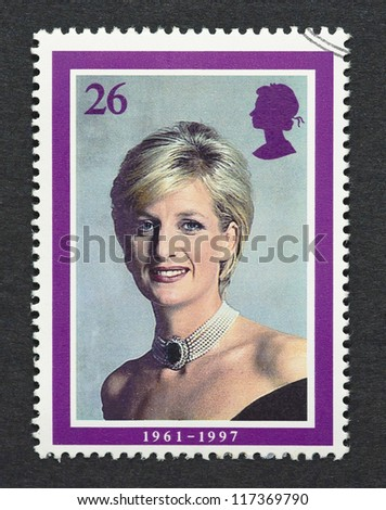 UNITED KINGDOM -Â?Â? CIRCA 2008: A postage stamp printed in United Kingdom showing an image of Diana, Princess of Wales, circa 2008. - stock photo