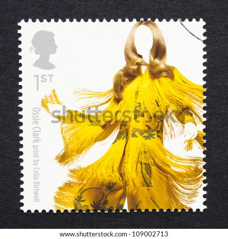 UNITED KINGDOM - CIRCA 2012: a postage stamp printed in United Kingdom showing an image of a dress of Ossie Clark, circa 2012.