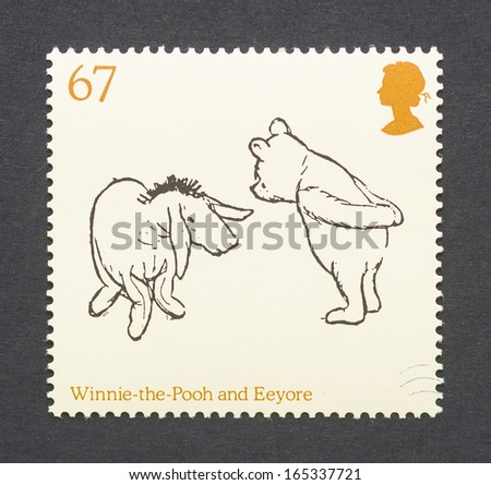 UNITED KINGDOM CIRCA 2010 a postage stamp printed in United Kingdom showing an image of cartoon characters teddy bear Winnie-the-Pooh and the donkey Eeyore circa 2010