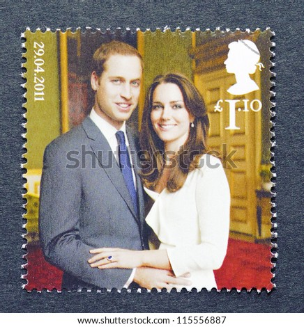 UNITED KINGDOM - CIRCA 2011: A postage stamp printed in United Kingdom showing an image of Prince William and Kate Middleton, circa 2011.