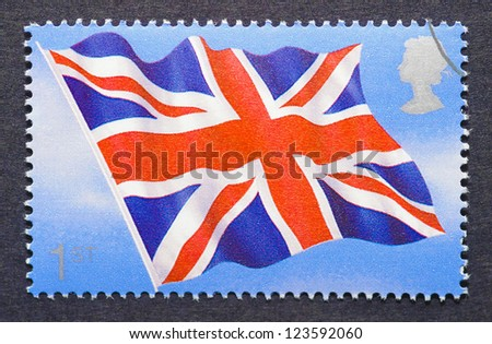 UNITED KINGDOM-Â?Â? CIRCA 2008: a postage stamp printed in United Kingdom showing an image of the british flag, circa 2008.