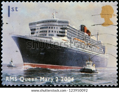 UNITED KINGDOM - CIRCA 2004: A stamp printed in Great Britain dedicated to Ocean Liners, shows RMS Queen Mary 2,2004, circa 2004
