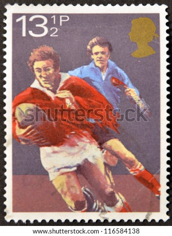 UNITED KINGDOM - CIRCA 1980: A stamp printed in Great Britain dedicated to rugby, circa 1980