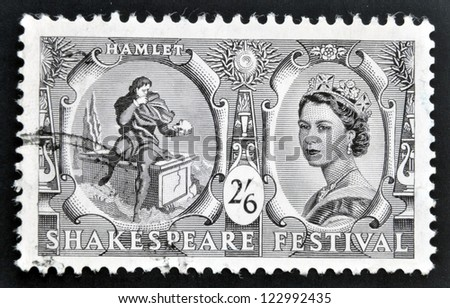 UNITED KINGDOM - CIRCA 1964: A stamp printed in Great Britain dedicated to Shakespeare Festival, shows Hamlet contemplating Yorick's skull (Hamlet) and Queen Elizabeth II, circa 1964