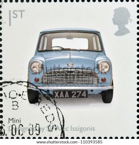 UNITED KINGDOM - CIRCA 2009: A stamp printed in Great Britain dedicates to Design Classics, shows Mk 1 Austin Mini by Sir Alec Issigonis, circa 2009