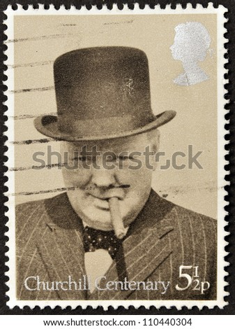 UNITED KINGDOM - CIRCA 1974: A stamp printed in Great Britain showing Sir Winston Churchill, circa 1974
