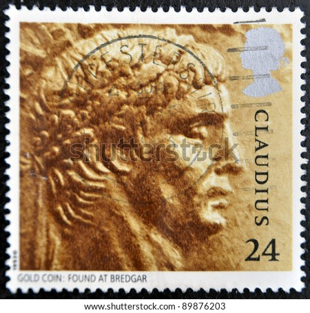 UNITED KINGDOM - CIRCA 1993: A stamp printed in Great Britain shows image of Claudius, gold coin: Found at Bredgar, circa 1993