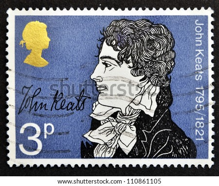 UNITED KINGDOM - CIRCA 1971: a stamp printed in the Great Britain shows John Keats, circa 1971