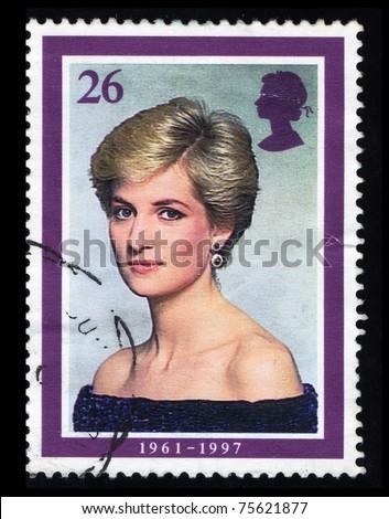UNITED KINGDOM - CIRCA 1997: A stamp printed in the UK shows Princess Diana, circa 1997 - stock photo