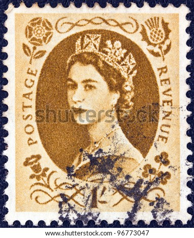 UNITED KINGDOM - CIRCA 1952: A stamp printed in United Kingdom shows a portrait of Queen Elizabeth II, circa 1952.