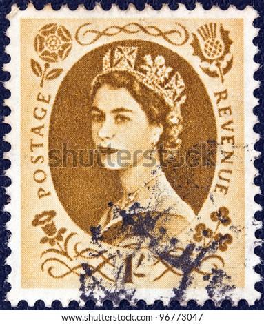 UNITED KINGDOM - CIRCA 1952: A stamp printed in United Kingdom shows a portrait of Queen Elizabeth II, circa 1952.
