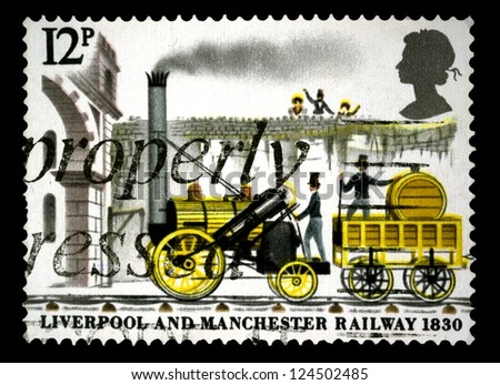 """UNITED KINGDOM - CIRCA 1980: A stamp printed in United Kingdom shows a """"Rocket"""" Locomotive, with inscriptions and name of series """"Liverpool and Manchester railway, 1830"""", circa 1980"""
