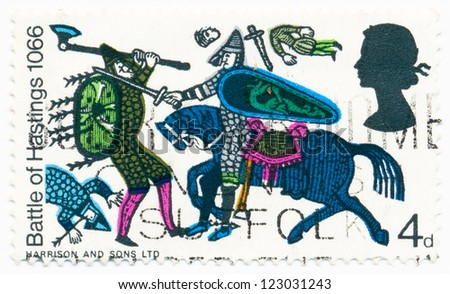 UNITED KINGDOM - CIRCA 1966: A stamp printed in United Kingdom shows Battle of Hastings from Bayeux Tapestry, circa 1966