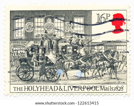 UNITED KINGDOM - CIRCA 1984: A stamp printed in United Kingdom shows horses, carriage, Holyhead and Liverpool by James Pollard, circa 1984