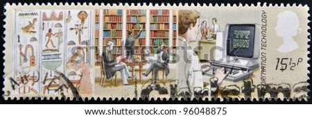 UNITED KINGDOM - CIRCA 1982: A stamp printed in United Kingdom shows image of information technology, circa 1982