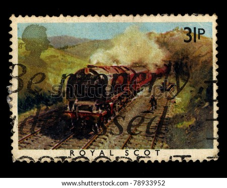 UNITED KINGDOM - CIRCA 1985: A stamp printed in United Kingdom shows image of The Royal Scot Train, circa 1985